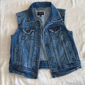 I Love H81 Raw Edge Blue Denim Vest Small S